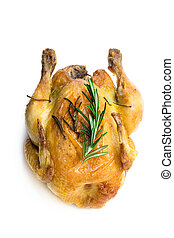 Roasted poussin with rosemary isolated on white