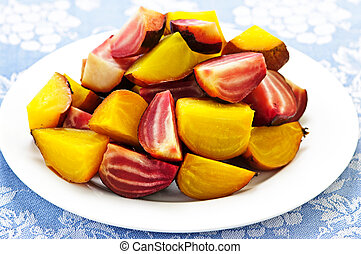 Roasted red and golden beets - Roasted sliced red and golden...