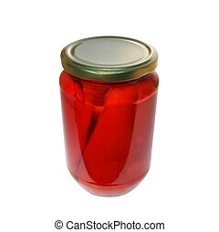 roasted red pepper in jar isolated