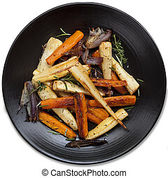Roasted Root Vegetables Top View - Roasted root vegetables...
