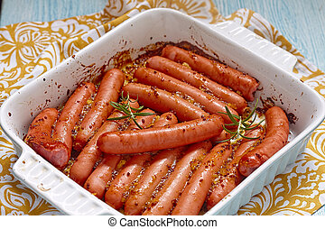 Roasted sausage with mustard orange sauce