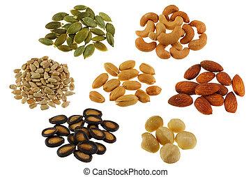 Roasted seeds on White