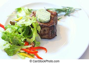 Roasted steak on the plate