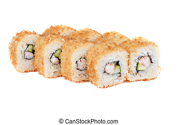 roasted sushi rolls with cucumber and shrimp