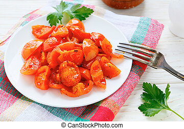 roasted tomato slices