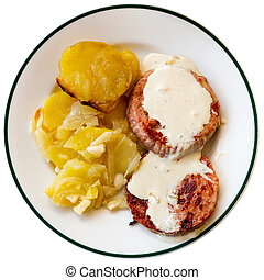 Roasted turkey breast steaks with Roquefort cheese sauce and potato