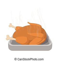 Roasted turkey cartoon icon
