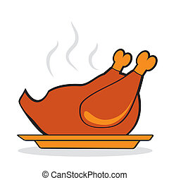 Roasted Turkey for thanksgiving day. Autumnal icon. Vector...