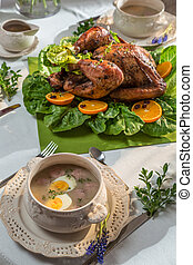 Roasted turkey for Thanksgiving served with soup