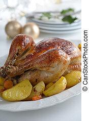 Roasted turkey on a Christmas table
