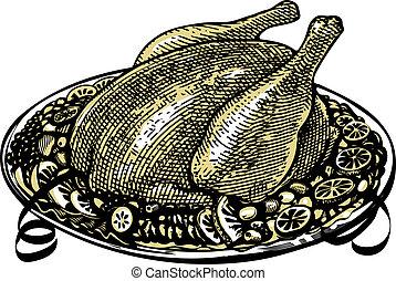 Roasted turkey on decorated platter