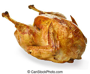 roasted turkey on white background