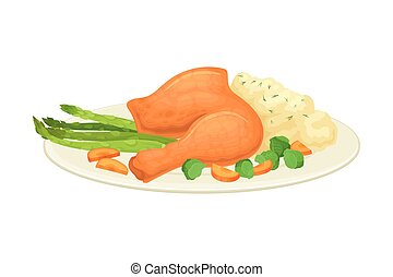 Roasted Turkey or Chicken Leg Served on Plate with Mashed Potato and Vegetables as Thanksgiving Day Dish Vector Illustration