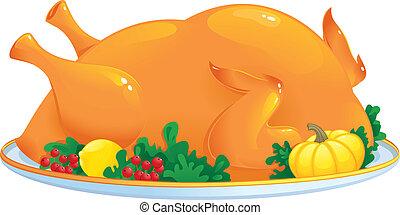 Roasted turkey - Seasonal vector illustration may be used as...