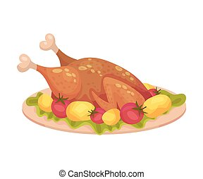 Roasted Turkey Served on Plate with Potatoes and Tomatoes as Thanksgiving Day Attribute Vector Illustration