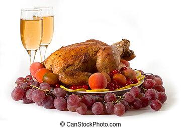 roasted turkey - Roasted chicken or turkey garnished with...
