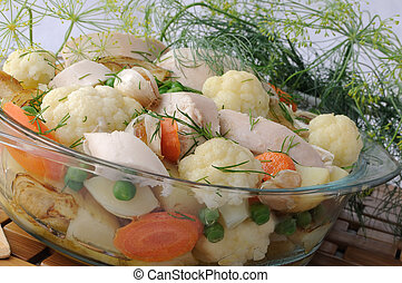 Roasted vegetables with chicken and dill