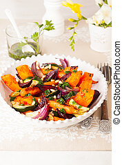 Roasted vegetables with pine nut and  and parsley sauce