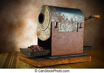 roaster, koffie, ouderwetse , hout, bonen, tafel