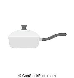 Roaster pan isolated. Kitchen utensils on white background....