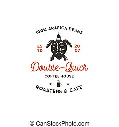 Roasters and cafe logo template with turtle, cup silhouette symbol. Wild animal icon. Coffee bar logotype, vintage hand drawn badge, label. Typography insignia. Stock vector isolated.