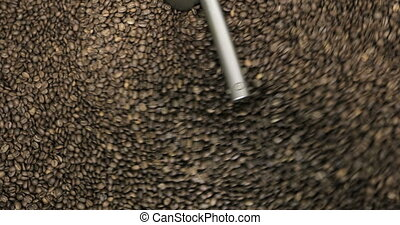 Roasting Coffee Beans Whirling Mixed On Cooling Unit...