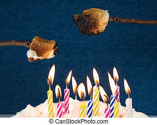 roasting marshmallow over birthday candles - roasting...
