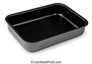 New black nonstick coating roasting pan isolated on white