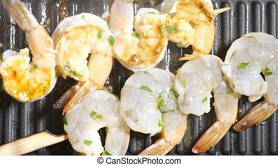 Roasting raw shrimp on a grill pan - Roasting raw shrimp...