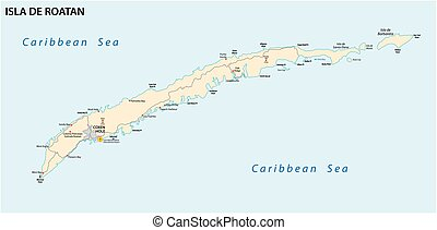 roatan road vector map