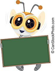 robótica, abeja, tabla, ilustración