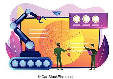 robótica, militar, conceito, illustration., vetorial