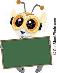 robótica, tabla, ilustración, abeja