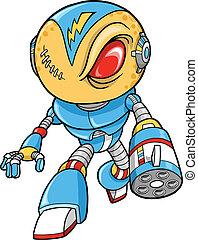 robótico, guerrero, vector, ilustración
