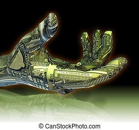 robótico, mano