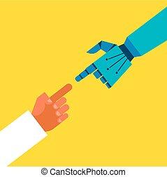 robótico, y, manos humanas, conexión
