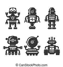 robô, ícones, jogo, branco, experiência., vetorial