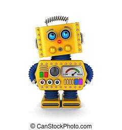 robô brinquedo, olhar, inocentemente