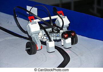 robô, car, montado, de, desenhista, detalhes, passeios, ligado, magnético, estrada, por, startup, estudantes