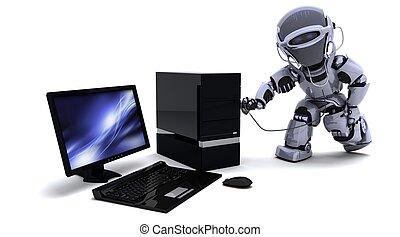 robô, com, computador, e, estetoscópio