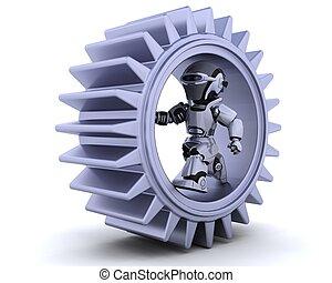 robô, com, engrenagem, mecanismo