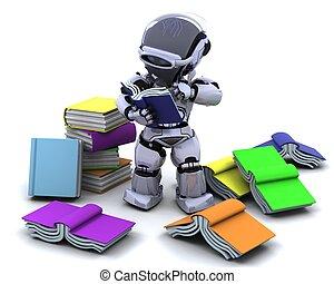 robô, com, livros