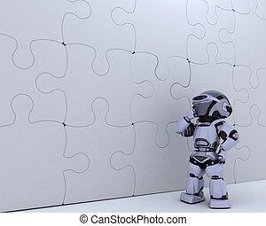 robô, com, quebra-cabeça, metáfora negócio