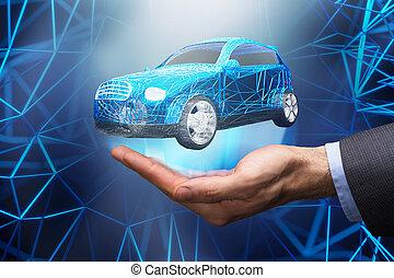 robô, dar, tecla carro, para, businessperson