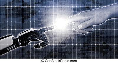 robô, dedo humano, tocar