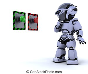 robô, e, empurre botão