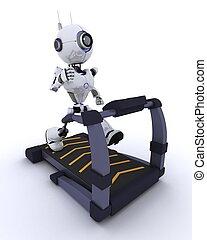 robô, em, a, ginásio, corrida num treadmill
