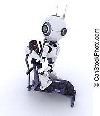 robô, em, a, ginásio, ligado, um, cruze treinador