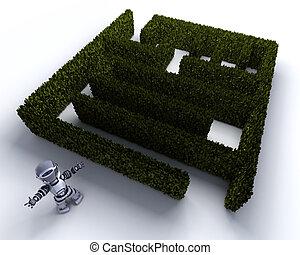 robô, em, a, início, de, um, labirinto