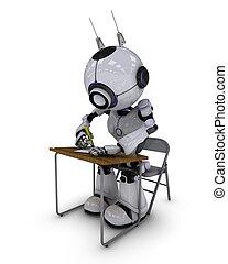 robô, em, escrivaninha escolar